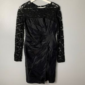 Adrianna Papell Black Lace Gathered Dress